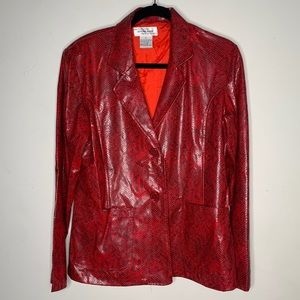 Red faux snakeskin blazer